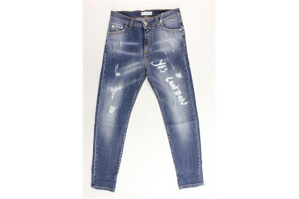 jeans 5 tasche tinta unita con strappi YES LONDON | Jeans | J06BLU