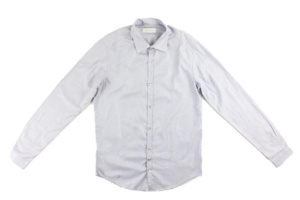 camicia manica lunga tinta unita microfantasia AGLINI | Camicie | 106077BLU