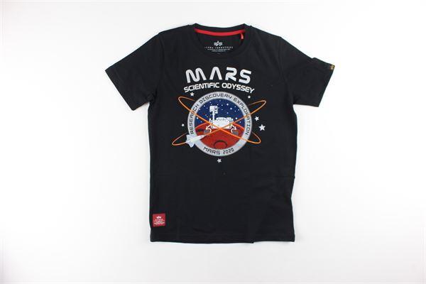 t-shirt tinta unita con stampa ALPHA INDUSTRIES | T-shirts | 126703NERO