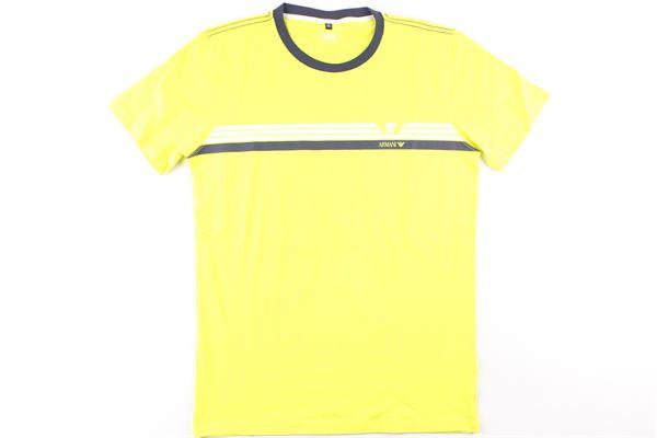 t-shirt tinta unita con stampa ARMANI JUNIOR   T-shirts   3Z4D01GIALLO