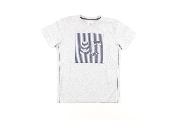 t-shirt tinta unita con stampa ARMANI JUNIOR   T-shirts   B4H09GRIGIO