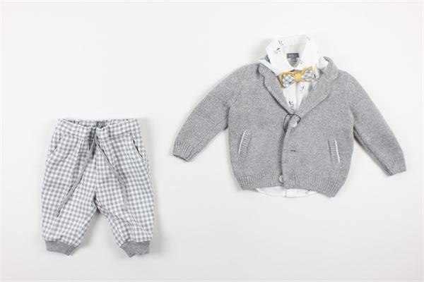 cardigan tinta unita camicia tinta unita con stampa e pantalone fantasia a quadri con elastico in vita e papillons BABY A. | Completi | M1864/KGRIGIO