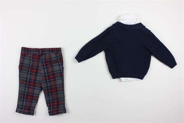 cardigan tinta unita camicia tinta unita pantalone fantasia a quadri con girovita regolabile e papillons BABY A. | Completi | P1692BLU/ROSSO