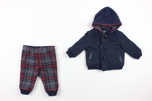 cardigan tinta unita con bottoni e pantalone stampa a quadri con girovita regolabile BABY A. | Completi | P1695BLU/ROSSO