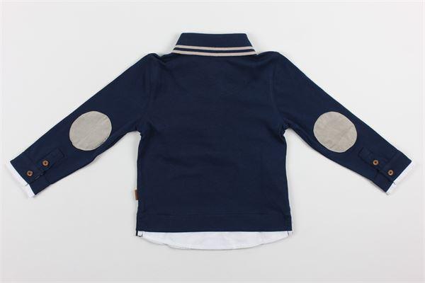 polo manica lunga tinta unita con profili in contrasto taschino e finta camicia BOBOLI | Polo | 711313BLU