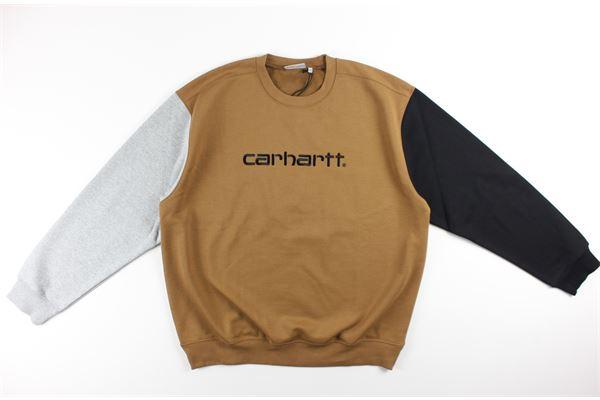 felpa tricolore girocollo tinta unita con logo CARHARTT | Felpe | I028274CAMMELLO