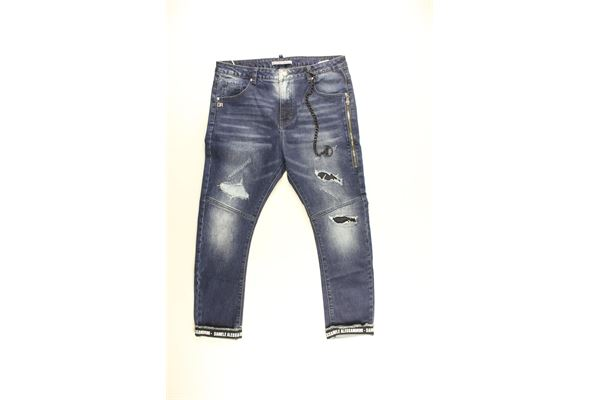 jeans tinta unita con strappi DANIELE ALESSANDRINI | Jeans | 1231D040BLU