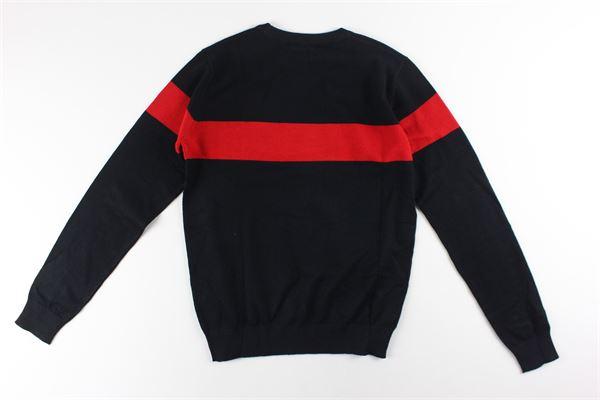maglia tinta unita con fascia colorata DANIELE ALESSANDRINI | Maglie | 1231W08433NERO