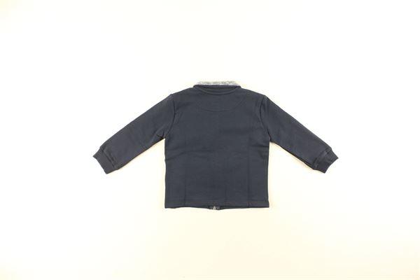 felpa tinta unita con zip e colletto in contrasto DANIELE ALESSANDRINI | Felpe | 1291F0247BLU