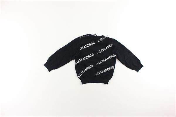 maglia girocollo tinta unita con stampa logo DANIELE ALESSANDRINI | Maglie | 1291W05544NERO