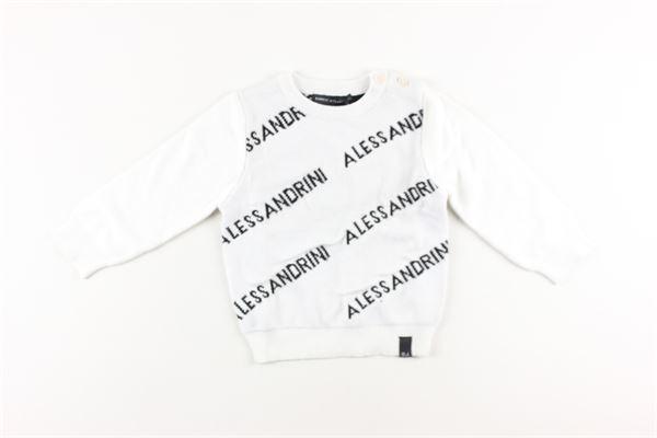 maglia tinta unita girocollo stampa logo DANIELE ALESSANDRINI | Maglie | 1291W0554BIANCO