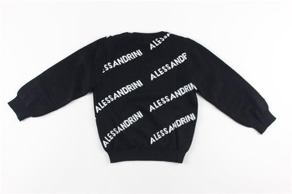 maglia tinta unita girocollo stampa logo DANIELE ALESSANDRINI | Maglie | 1291W0554NERO