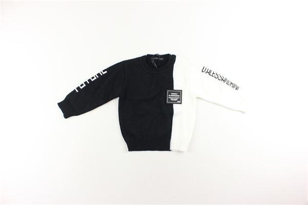 maglia girocollo tinta unita con stampa logo DANIELE ALESSANDRINI | Maglie | 1291W9561NERO