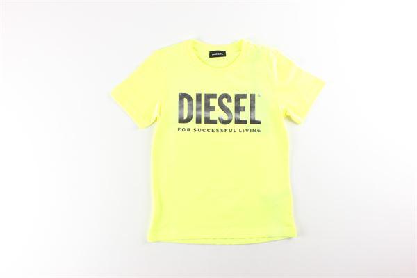 t-shirt tinta unita con stampa DIESEL | T-shirts | 00J50WGIALLO FLUO