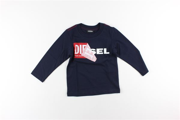 shirt tinta unita con stampa DIESEL | Shirts | 00K1Y6BLU