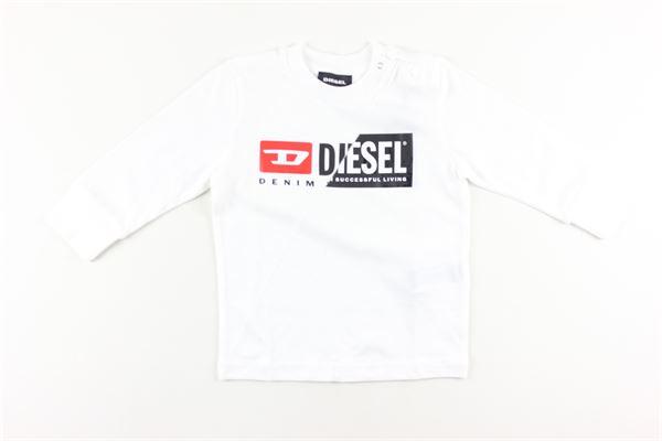 shirt tinta unita con stampa DIESEL | Shirts | 00K296BIANCO