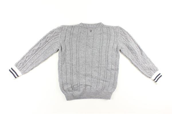 maglia tinta unita con polisini maniche in contrasto DONDUP | Maglie | BM202GRIGIO