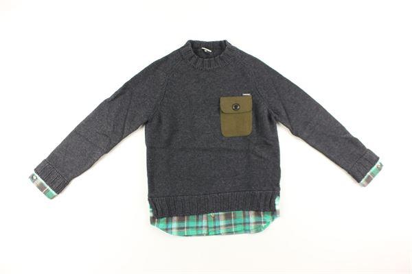 maglia tinta unita con finta camicia DSQUARED | Maglie | DQ01SHD00KXDQ905GRIGIO