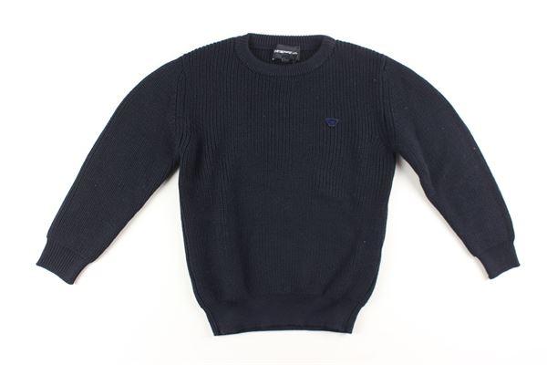 maglia tinta unita con stampa EMPORIO ARMANI | Maglie | 6G4M50BLU