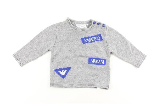 maglia tinta unita con stampa EMPORIO ARMANI | Maglie | 6GHM53GRIGIO