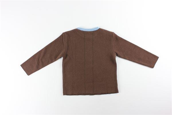 maglia girocollo tinta unita con stampe FRUGOO | Maglie | 211M094MARRONE