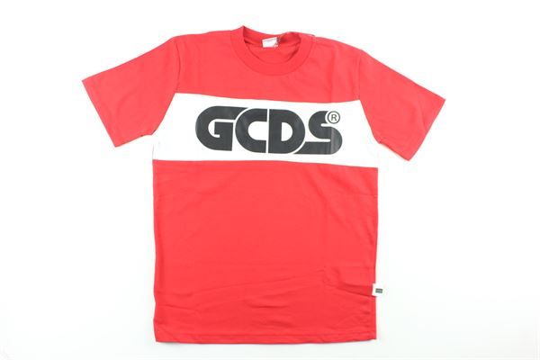 t-shirt tinta unita con stampa GCDS | T-shirts | 020441XROSSO