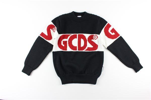 maglia girocollo tinta unita con stampa logo GCDS | Maglie | 025756MNERO
