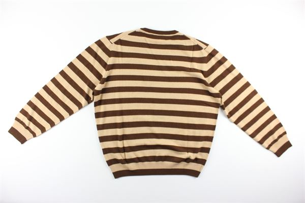 maglia fantasia a righe bicolore girocollo 70%lana 30%cashmere GIORGIO PORTA | Maglie | 4040MARRONE