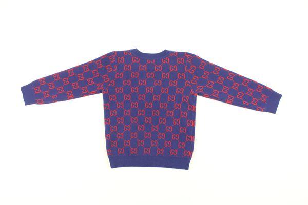 maglia girocollo tinta unita manica lunga con stampa logo GUCCI   Maglie   615384XKBD7BLU ELETTRICO