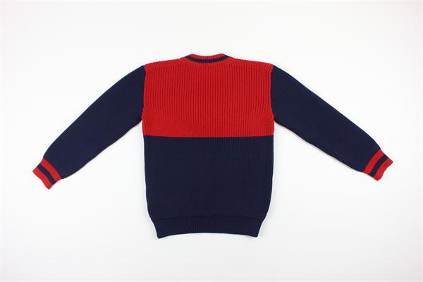 maglia girocollo bicolore con stampa logo 100% lana GUCCI   Maglie   615672XKBEEBLU/ROSSO