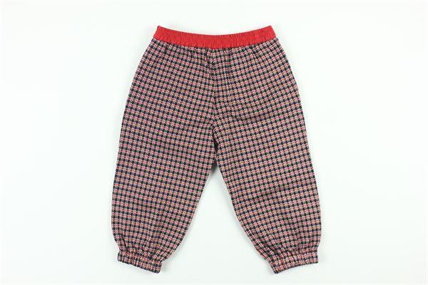 pantalone elastico in vita con microfantasia e tasconi in contrasto con stampa logo tono su tono GUCCI   Pantaloni   627513XJCOVBLU/ROSSO