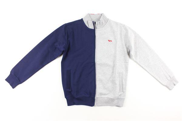 felpa con zip bicolore HARMONT & BLAINE | Felpe | 319JL025BLU/GRIGIO