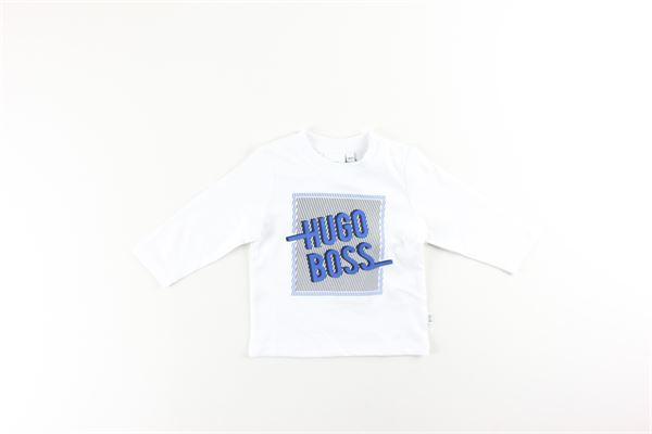 shirt tinta unita con stampa HUGO BOSS | Shirts | J05800BIANCO