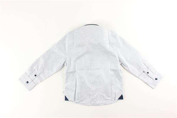 camicia manica lunga tinta unita con stampa con profili in contrasto HUGO BOSS | Camicie | J05810BIANCO/BLU