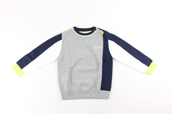 maglia girocollo tinta unita tricolore HUGO BOSS | Maglie | J05812GRIGIO