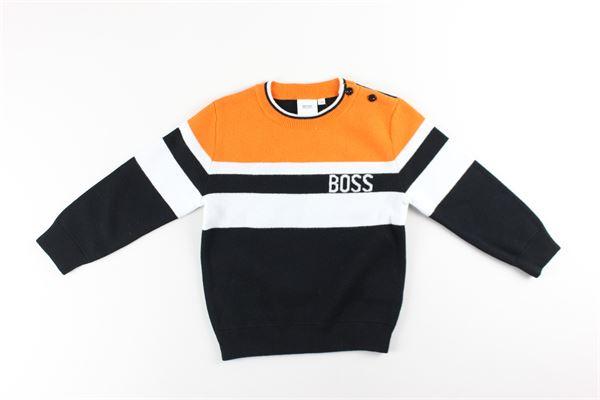 maglia girocollo tricolore HUGO BOSS | Maglie | J05813NERO