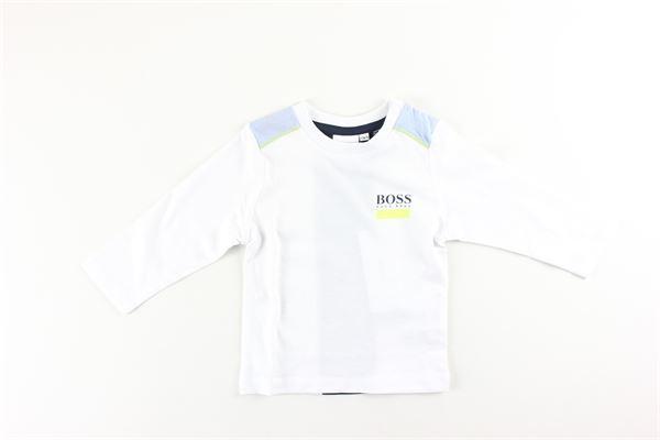 shirt tinta unita con stampa HUGO BOSS | Shirts | J05825BIANCO
