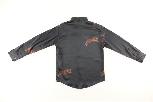 camicia in raso tinta unita con stampa I'M BRIAN   Camicie   CA1108JJNERO