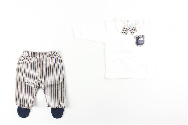 felpa con taschinoe pantalone fantasia a righe I DELFI | Completi | 2222BIANCO