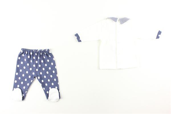maglia tinta unita con stampa e pantalone fantasia pois I DELFI | Completi | 861BIANCO/BLU