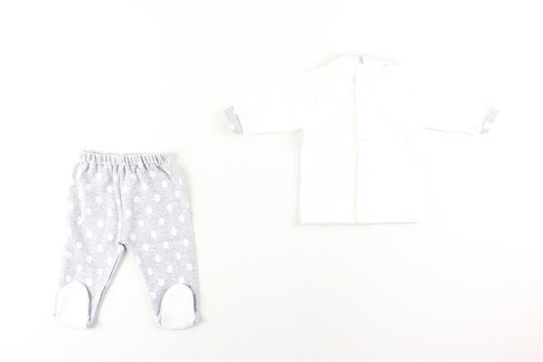 maglia tinta unita con stampa e pantalone fantasia pois I DELFI | Completi | 861BIANCO