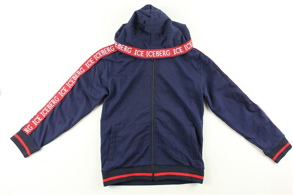 felpa zip e cappuccio tinta unita con profili in contrasto ICEBERG   Felpe   MFICE9301JBLU