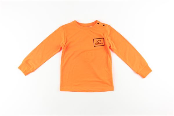 shirt tinta unita con stampa logo ICEBERG   Shirts   TSICE0300BARANCIO FLUO
