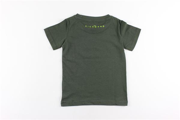 t-shirt tinta unita con stampa JOHN RICHMOND | T-shirts | RBA20001TSVERDE MILITARE