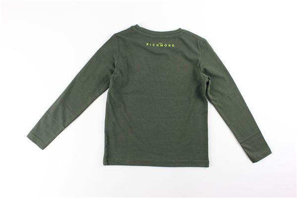 shirt tinta unita con stampa logo JOHN RICHMOND | Shirts | RBA20019TSVERDE MILITARE
