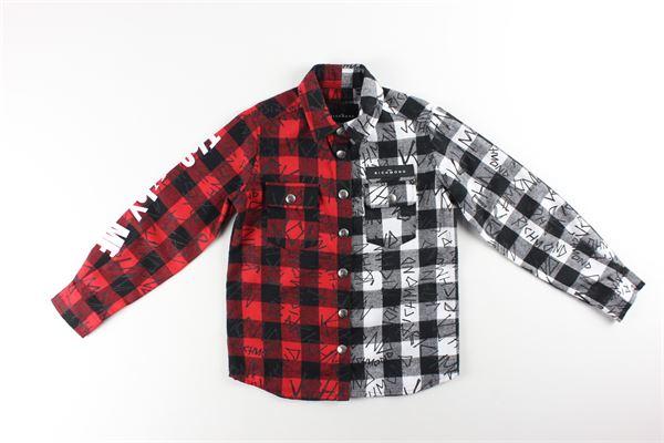 camicia bicolore fantasia a quadri con stampe JOHN RICHMOND | Camicie | RBA20043CAROSSO/BIANCO