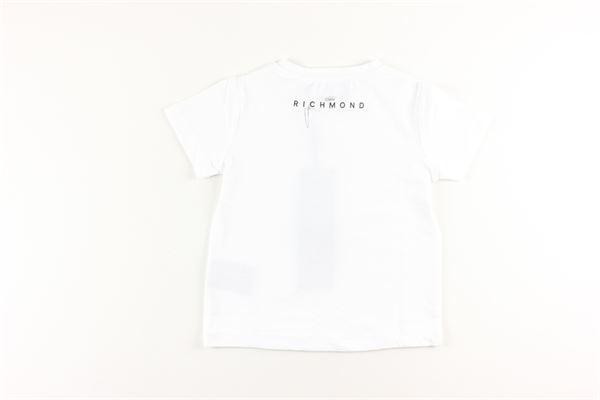 t-shirt tinta unita con stampa logo multicolor JOHN RICHMOND | T-shirts | RGA20185TSBIANCO
