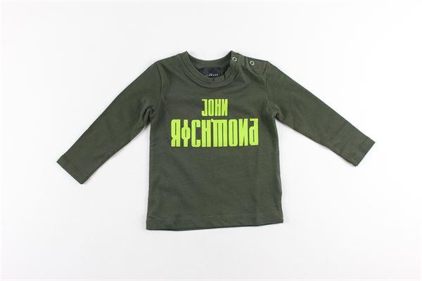 shirt tinta unita con stampa logo JOHN RICHMOND | Shirts | RIA20009TSVERDE MILITARE
