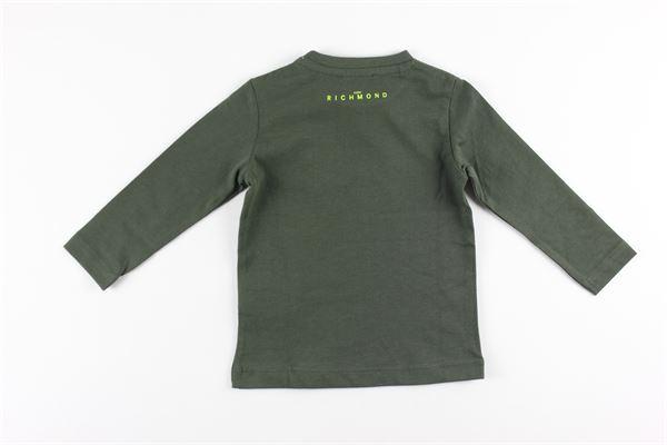 shirt tinta unita con stampa JOHN RICHMOND   Shirts   RIA20021TSVERDE MILITARE