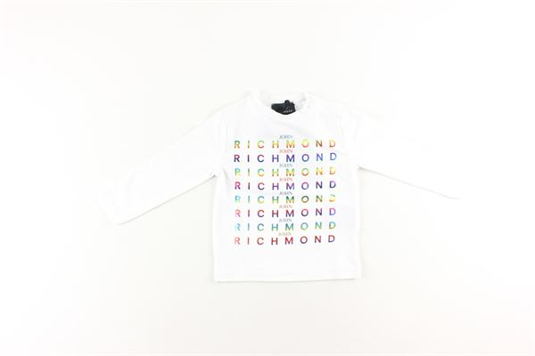shirt tinta unita con stampa logo multicolor JOHN RICHMOND | Shirts | RIA20101TSBIANCO